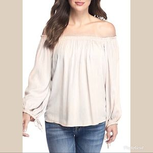 JESSICA SIMPSON Ivory Top Off The Shoulder Boho